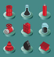gas color isometric icons vector image vector image