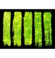 Green glitter brush strokes set isolated at black vector image vector image