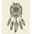 Hand drawn dreamcatcher with feathers Vintage vector image vector image