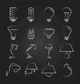hand drawn lamp icons collection vector image vector image