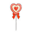 hand drawn lollipop in the shape of a heart vector image vector image