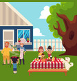 happy family having bbq picnic in the yard vector image vector image