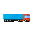 isolated red truck with blue cargo trailer vector image