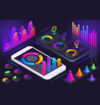 isometric view smartphone screen holographic vector image vector image