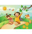kids playing on garden vector image vector image