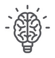 light bulb brain line icon school and education vector image vector image