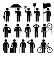 man with random objects stick figure pictograph vector image vector image