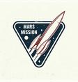 mars mission logo badge shirt t design print vector image