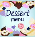 menu desserts vector image vector image