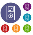 mini mp3 portable player icons set vector image