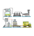 olive oil production process automated line of vector image vector image