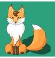 Orange fox sitting isolated on neutral background vector image