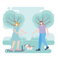 people with medical face mask woman riding kick vector image vector image