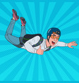 pop art businessman flying with parachute vector image vector image