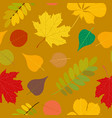 seamless autumn pattern orange yellow brown red vector image