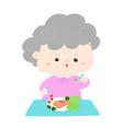 senior eating healthy food cartoon vector image vector image