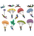 set skydiver flying with a parachute extreme vector image vector image