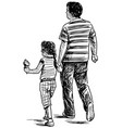 sketch young father with his little daughter vector image vector image