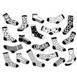 sock sketch hand drawn long and short trendy vector image vector image