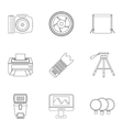 Taking photo icons set outline style vector image vector image