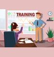 training with man presenting graphs analysis vector image