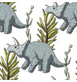 triceratops seamless pattern vector image vector image