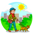 Walking the dog vector | Price: 3 Credits (USD $3)