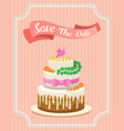 wedding cake card valentines day newlyweds vector image vector image