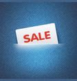 SALE label in pocket vector image