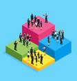 3d businessmen standing on the chart vector image vector image