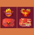 bbq party emblems in flame and food on grill set vector image
