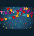 blue flag garland party celebration background for vector image vector image