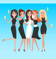 bride with friends women hen-party holiday vector image