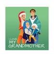 cartoon big family character hugging winter vector image vector image