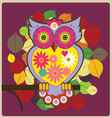 cartoon owl pink queen vector image vector image