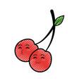 cherry cartoon smiley vector image vector image