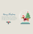 christmas holiday background with funny badger dog vector image