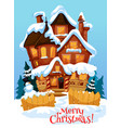 christmas house with xmas decoration greeting card vector image vector image