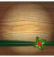 Christmas Wood Background With Green Ribbon And vector image vector image