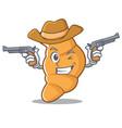 cowboy croissant character cartoon style vector image vector image