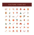 culture icon set with colorful modern flat style vector image