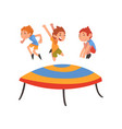 cute boys jumping on trampoline happy kids vector image vector image