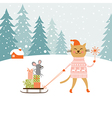 Cute kitty carries the sledge with gifts and littl vector image vector image