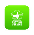 cutting sevice icon green vector image
