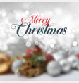 decorative christmas text on defocussed background vector image vector image