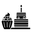 dessert icon black sign on vector image