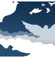 doves in cloud sky vector image