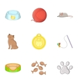 Equipment for care of pets icons set cartoon style vector image vector image