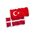 flags turkey and denmark on a white background vector image