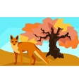 Fox on hill with oak animals and nature vector image